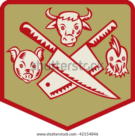 Imagery shows a Cow,pig and chicken with crossed butcher knife set inside a shield - stock photo