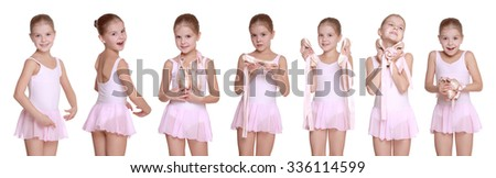 Images adorable school age girl playing dress up wearing a ballet tutu, isolated on white - stock photo