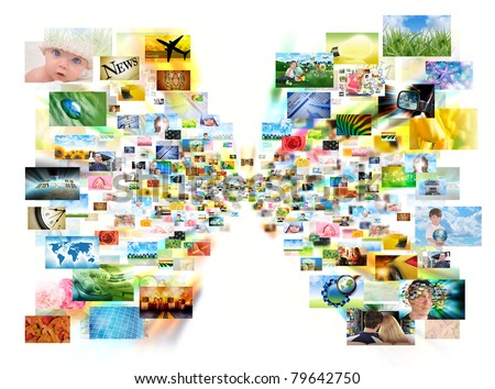 Images are projecting out of the center of a white isolated background. Use it for a tv or web streaming concept. - stock photo
