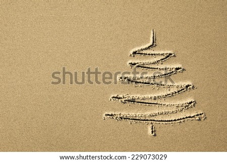 images christmas tree in the sand beach coastline close-up - stock photo