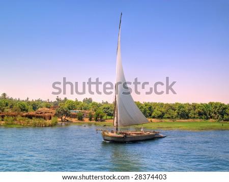 Images from Nile: Feluka sailing - stock photo