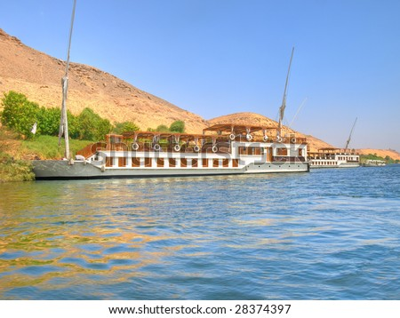 Images from Nile: Touristic sailboats - stock photo