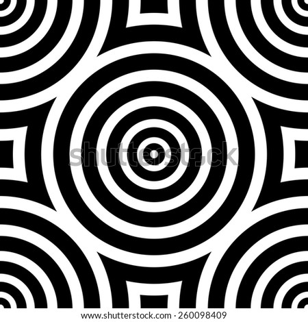 Images in the style of optical illusions - Op art. Black and white background. Seamless texture - stock photo