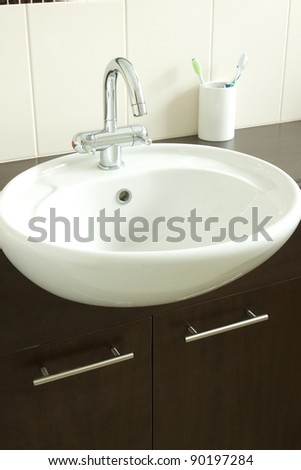 Images of a modern bathroom taken with natural light - stock photo