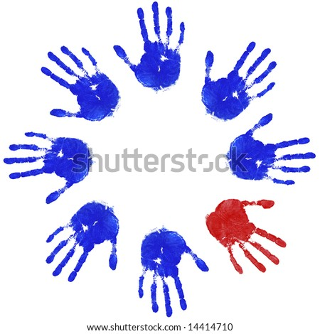 Images of blue handprints with an odd red one, concepts of Teamwork, Equality and Diversity. - stock photo