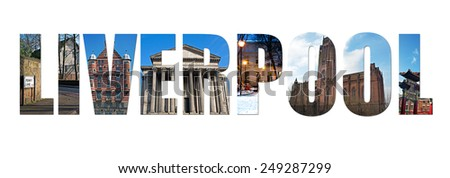 Images of Liverpool inserted into text - stock photo