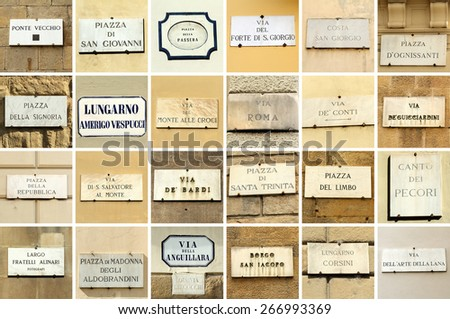 images with florentine street names - collage, Florence, Italy  - stock photo