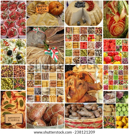images with food on italian market - collage  - stock photo