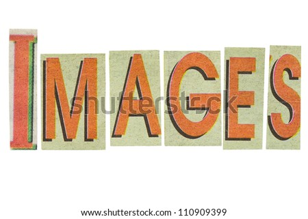 Images word, paper cut letters isolated on white background