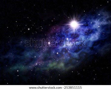 Imaginary background of deep space and star field - stock photo