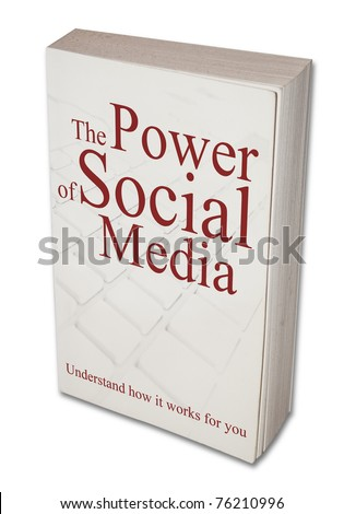 Imaginary book about social media. Isolated on white.