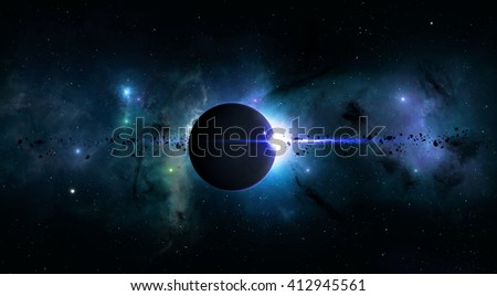 imaginary deep space eclipse with nebula stars and asteroids Elements of this image furnished by Nasa