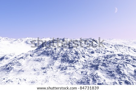 Imaginary landscapes created by 3DCG, Sunny and beautiful, top of the snowy mountains. - stock photo