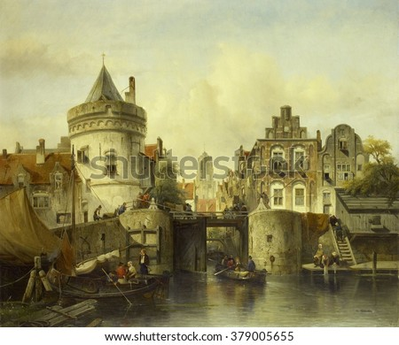 Imaginary View based on the Kolksluis, Amsterdam, by Samuel Verveer, 1839, Dutch oil painting. A rowboat exits the 'kolk' through the open sluice gate, which dates back to the Middle Ages. - stock photo