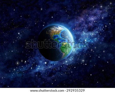 Imaginary view of planet Earth into deep space, focused on America. Elements of this image furnished by NASA - stock photo