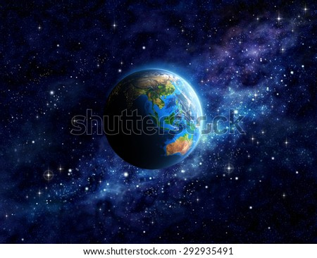 Imaginary view of planet Earth into deep space, focused on Asia and Australia. Elements of this image furnished by NASA - stock photo