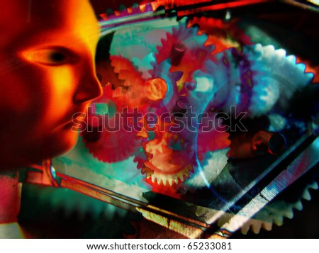 Imagination and perception of hi tech world - stock photo