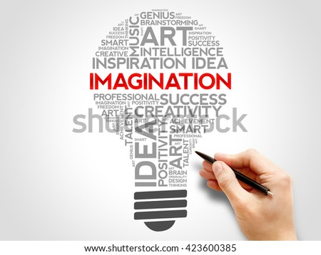 Imagination bulb word cloud concept - stock photo