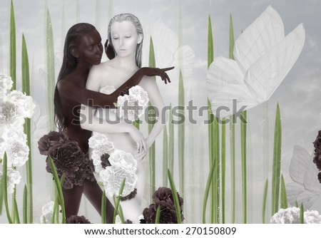 Imagination. Two Women Colored Black and White - stock photo