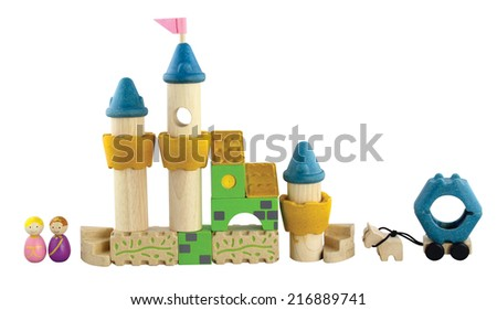 imagination wooden blocks colorful toy - stock photo