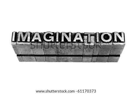 IMAGINATION  written in metallic letters on a white background - stock photo