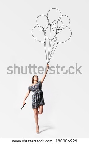 Woman Holding Balloons Stock Photos, Royalty-Free Images ...