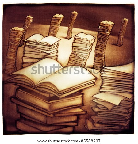 imaginative landscape with stacks of books, metaphor (artistic painting) - stock photo
