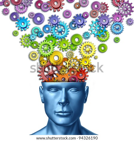 Imagine and invent as human creativity and intelligent brain with a front facing head as rainbow spectrum colored gears and cogs out of the mind as an artistic design thinking in business. - stock photo