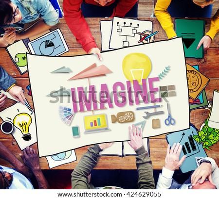 Imagine Creative Dream Expect Ideas Vision Concept - stock photo