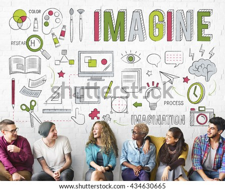Imagine Imagination Be Creative Research Concept - stock photo