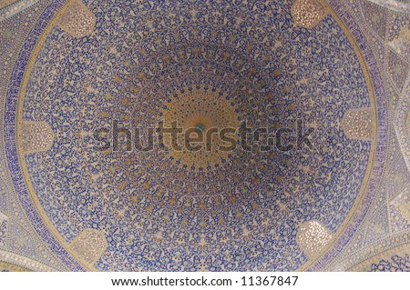 Imam Mosque ceiling.  Isfahan.  Iran.
