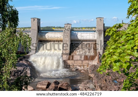 Imatra. Finland. Beginning of The Rapids Shows when dam is opened.