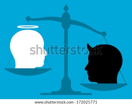 Imbalanced scale with an angel and the devil - stock photo