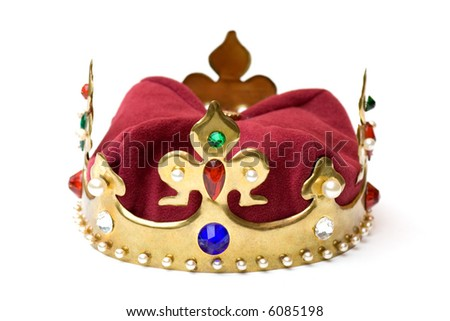 Imitation of a golden royal crown with pearls and gems over white background. - stock photo