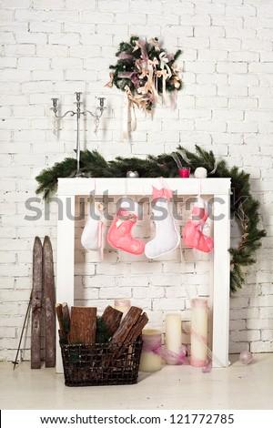 imitation of christmas firewood with socks - stock photo