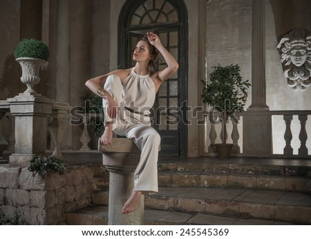 Imitation sculptors of antiquity  - stock photo