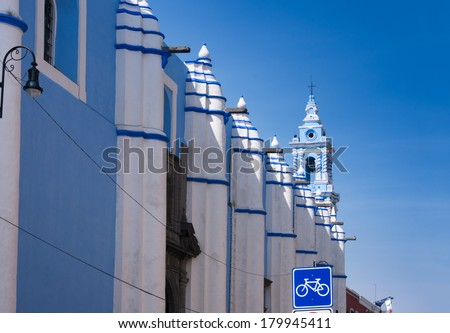 Immaculate Conception of Our Lady Conventional Church, Puebla, Mexico Metropolitan Cathedral of Our Lady of the Immaculate Conception of the Blessed Virgin Mary in Puebla, Mexico - stock photo