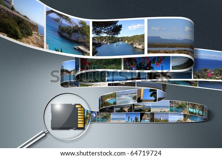 Immense amount of digital photo data saved by a small SD card - stock photo