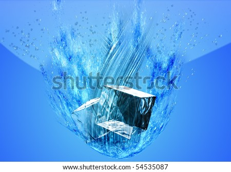 immersed in ice - stock photo