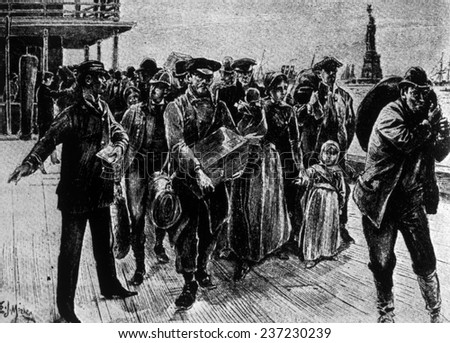 Immigrants arriving in New York City in the late 19th century. - stock photo
