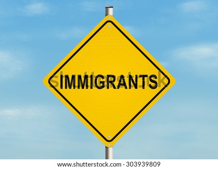 Immigrants. Road sign on the sky background. Raster illustration.