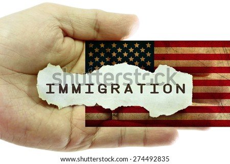 Immigration concept. United States grunge flag in the background - stock photo