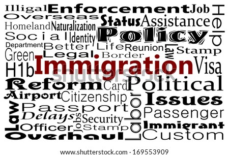 Immigration concept word cloud - stock photo
