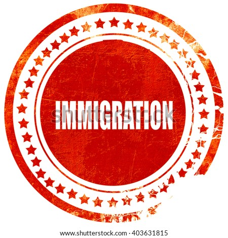 immigration, grunge red rubber stamp on a solid white background - stock photo