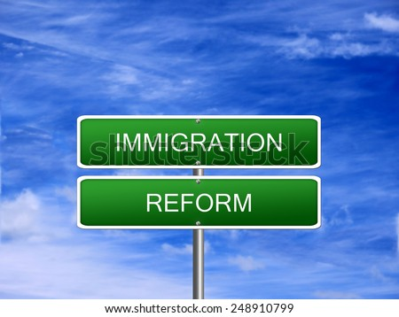 Immigration reform law crisis foreign refugees sign. - stock photo