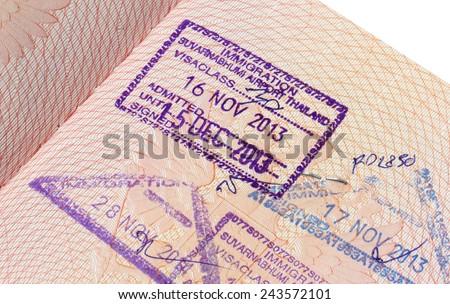 Immigration stamp of Suvarnabhumi airport in Thailand - stock photo