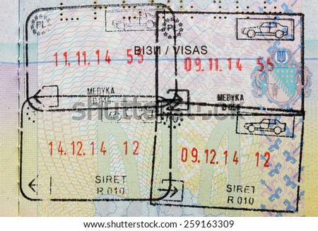 Immigration stamp. Passport Stamps - stock photo