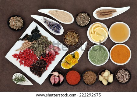 Immune boosting health superfood selection in porcelain dishes and wooden bowls over lokta paper background. - stock photo
