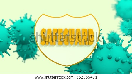 Immune protection system relative image. Abstract viruses attack on shied with safeguard text. Vaccination theme. Virus model flying in space. Pharmaceutical industry and medical equipment research - stock photo