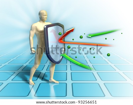 Immune system defends the human body from external attacks. Digital illustration. - stock photo